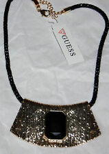 NWT Guess Black & Gold Metals Mesh Chain & Textured Stone Pendant Necklace