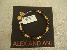 Alex and Ani EARTH SWAROVSKI Shiny Gold Beaded Bangle New W/Tag Card & Box