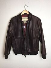 Vtg Banana Republic Bomber Jacket Soft Brown Leather Authentic Travel Size 40