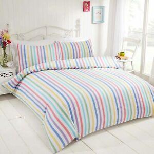 Brushed Cotton Flannelette Multicolour Candy Stripe Duvet Cover Set OR Sheet Set