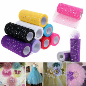 "6"" 25 yard Glitter Tulle Roll Spool Wedding Party Gift Wrap Fabric Craft Decor"