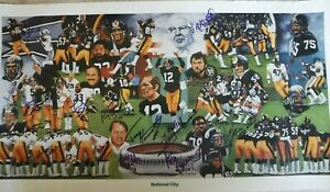 PITTSBURGH STEELERS TEAM OF THE 70'S POSTER SIGNED BY 14 STEELERS MIKE WEBSTER +