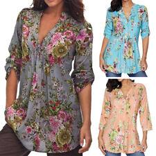 Women's Ladies Floral Casual Loose Long Sleeve Blouse Tops T-Shirt S- XXXXXXL