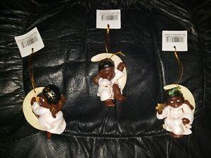 NIB Set of 3 African American Black Cherub Crescent Moon Christmas Ornaments
