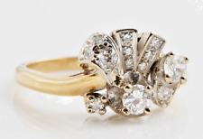 18K Gold .86ct Diamond Engagement Wedding Art Deco Cluster Ring
