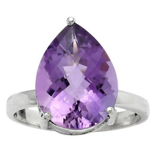 Faceted Natural Amethyst - Brazil 925 Sterling Silver Ring s.7 Jewelry E462