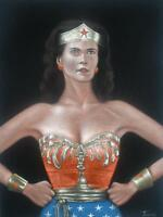 DC Wonder Woman Linda carter black velvet oil painting hand painted signed art