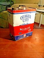 VERY RARE VINTAGE 1940's 2 GALLON QUAKER CITY MOTOR OIL CAN