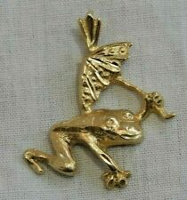 14K Yellow Gold Frog Holding an Umbrella Charm or Pendant
