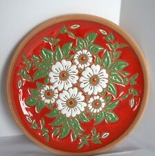 "Bonis Pottery Wall Plate Dish Plaque Floral Enamel Clay Art Original 8.5"" Greece"