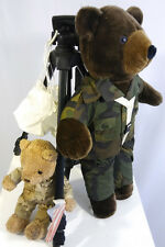 "Paratrooper Teddy Bear with BP parachute US Army 21""& small Army buddy bear 11"""