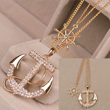 Necklace Pendant Anchor Nautical Rope Gold Tone Crystal Chain T Sweater Necklace