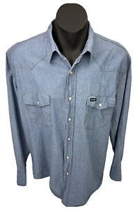 Wrangler Mens Western Campdraft Pearl Snap LS Blue Denim Shirt Sz XL 2000s
