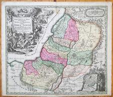 Seutter Colored Original Map of Holy Land Terra Sancta  - 1730