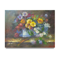 NY Art - Summer Wildflowers in a Giftbox 12x16 Original Oil Painting on Canvas!