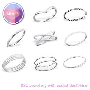 Solid Sterling Silver 925 Simple Wishbone Stacking Midi Ring Knuckle Top Finger