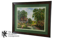 Countryside Oil Painting on Board Landscape Summer Thatched Cottage Duck Pond