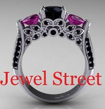 Black and Pink Diamond Ring 4.31 Ct Diamond Engagement Ring Diamond Jewelry