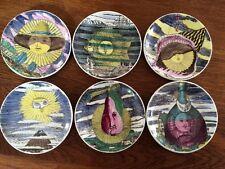 Atelier Fornasetti Piero Soli e Lune Coaster Porzellan 6 Teller trompe l'oeil