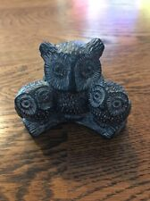 NUVUK Owl & Baby Soapstone Carving Canada Native People First Nations (JD)