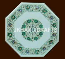 """23"""" Marble Coffee Center Table Top Malachite Inlaid Work Home Decor Gift"""