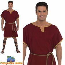 Burgunday Tunic Robe Greek Roman Historical Adult Mens Fancy Dress Costume