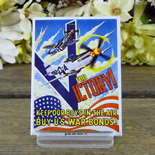 Ande Rooney / Enamel Kitchen Magnet / V for Victory / Keep our Boys in the Air