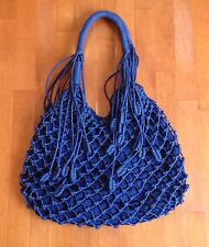 NEW Monserat De Lucca Belen Knotted Macrame Tote Shoulder Bag Navy Blue