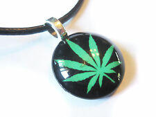 Marijuana Pot Leaf Glass Bubble Pendant Necklace