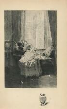 ANTIQUE VICTORIAN WOMAN MAN ROMANCE CURTAINS SOFA VASE REMARQUE ETCHING PRINT