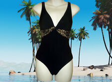 GOTTEX Black Leopard Print BATHING SUIT ONE PIECE SWIMSUIT - Size 8