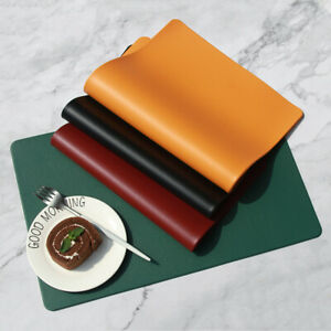 Set of 2/4/6/8 Table Placemats Tableware Pads Oil-proof Leather Meal Mat Kitchen