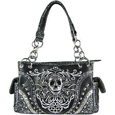 BLACK SKULL DESIGN LOOK SHOULDER HANDBAG CONCEALED CARRY WESTERN FASHION
