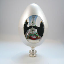 Lamp Finial: Christmas Egg 1989 Collectible with Penguin and Tree Inside (H25)