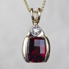 14K Yellow Gold Natural Red Garnet And Diamond Pendant (chain not included)