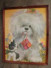 Vintage Print, 50s - 60s, Old English Sheepdog & Boston Terrier, Framed