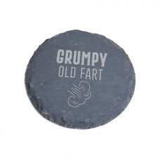 """Grumpy Old Fart"" Engraved Slate Coaster - Funny Birthday Gift for Dad Mum"