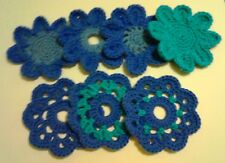 Seven Crochet Flower Coasters (blue): handcrafted decorative ornaments