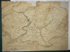 CARTE DU TENDRE, 1881 par B. NEST - CURIEUSE & RARE Carte MANUSCRITE Curious MAP
