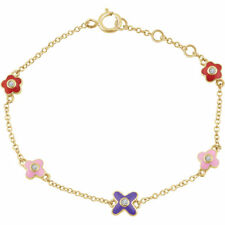 "Diamond Youth Flower 7"" Bracelet In 10K Yellow Gold"