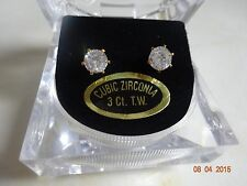Gold Clear Round Bright CZ Cubic Zirconia Stud Earrings Prong Set Wedding Bridal