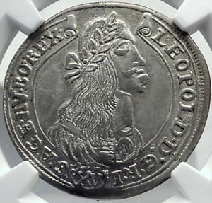 1675 HUNGARY under KING Leopold I Antique Silver Coin w MADONNA JESUS NGC i81943