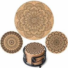 """New listing Masgalacc Cork Coasters for Drinks with Metal Holder-Set of 12 - 4"""" x 4"""" -1/5."""