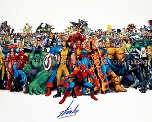 STAN LEE SIGNED AUTOGRAPH 8X10 RPT PHOTO AMAZING CHARACTERS AVENGERS SPIDERMAN