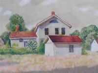 "S.W. MACOMBRE (AMERICAN, 20TH C.) ""VACANT COUNTRY HOUSE"" WATERCOLOR & GOUACHE"