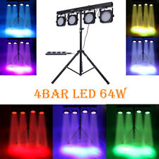4 BAR DMX LED WASH RGB PAR 64 STAGE LIGHT KIT SYSTEM LIGHTING + Foot Controller
