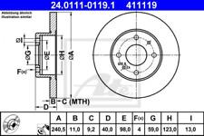 2x Bremsscheibe für Bremsanlage Hinterachse ATE 24.0111-0119.1