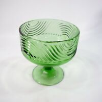 Vintage E. O. Brody Co. Cleveland #138 Green Glass Pedestal Compote Dish Bowl