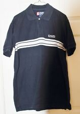 Chaps Mens Size Med - polo - Navy with White Stripes - EUC