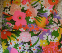 Vintage FABRIC Long Piece 60s Flower Power Daisy Floral Pink Yellow Green Orange